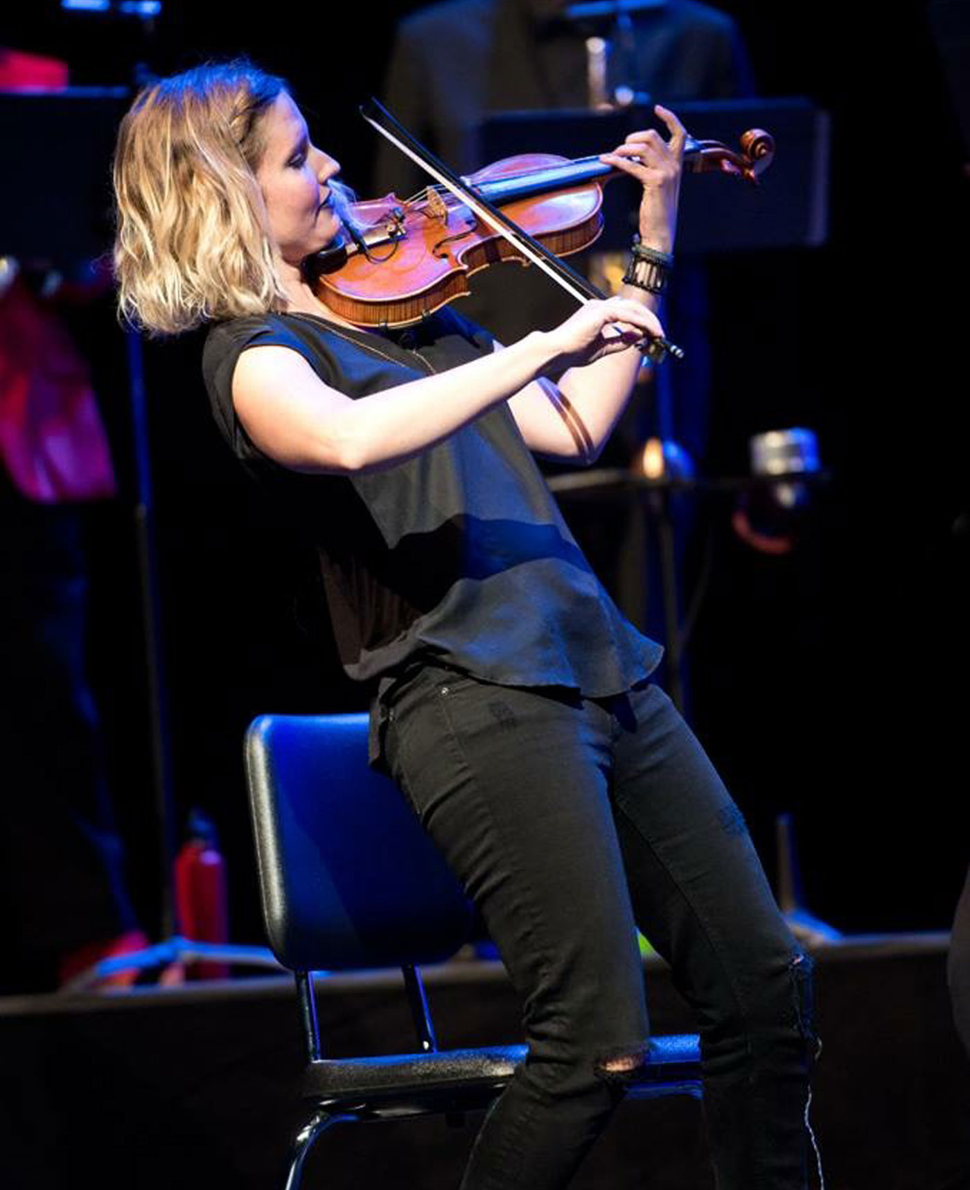 Rachel Nesvig plays a solo for Seattle Rock Orchestra